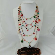 18'' 5 rows Multi Color Coral Turquoise Pearl Chain Necklace Earrings Set