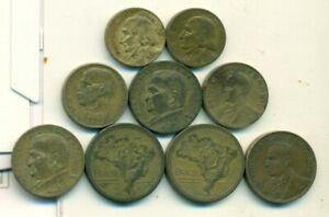 9 DIFFERENT & OLDER COINS from BRAZIL (4 DENOMINATIONS/1942-1954)