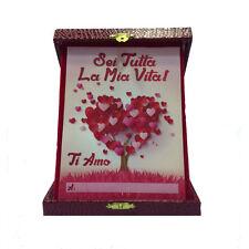 """LOVE license plate """"Six tutta la mia Vita! I You"""" box eco-leather red 14x18cm"""