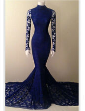 Royal Blue Lace Mermaid Prom Dresses Formal Celebrity Evening Wedding Party Gown