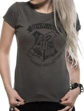 Harry Potter Distressed Hogwarts T-Shirt Womens Ladies Grey M UK 10-12