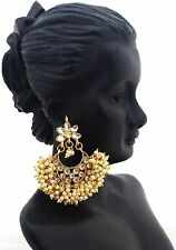 Bollywood Fashion Gold White Jewelry Indian Pearl Kundan Dangle Earrings 2pc Set