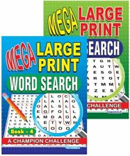 2Pack (3&4) Word Search Puzzle Book Mega Large Print A4 Quiz Puzzles Books