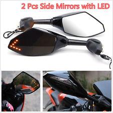 UNIVERSAL MOTORCYCLE MOTORBIKE BLACK LOOK TURN SIGNAL MIRRORS WITH LED INDICATOR