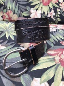 Handmade men's size 34 black tooled flower embossed leather belt