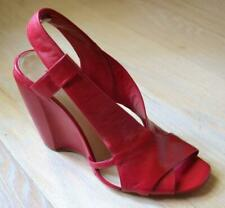 Costume National Red Leather Shoes with Wedge Heels Size 37 - Worn once
