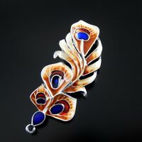 4pcs Colorful 59*22*4mm Peacock Feather Enamel Alloy Pendants Charms Craft 52107