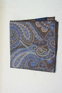 David Donahue Men's Blue/Brown Paisley Pocket Square