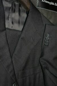 $3495 Ermenegildo Zegna Gray Serge Wool Suit 40R 34W