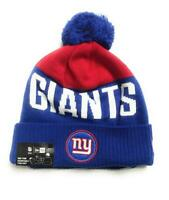 New Era Unisex Adult New York Giants NFL Knit Patch Beanie Hat, Blue/Red, One Sz