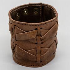 Leather Plait Wrist Cuff wristband protector Biker Gothic Viking Larp Archery