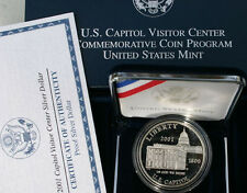 2001 Proof US Capitol Visitor Center 90% Silver Dollar $1 Coin with Box and COA