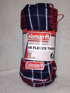 """COLEMAN Blue and Red Plaid Multi-Colored SOFT Polar Fleece Throw 50"""" x 60"""""""