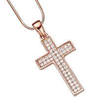 925 ECHT SILBER, ROTGOLD *** Collier Kette 42 cm, großer Zirkonia Kreuz Anhänger
