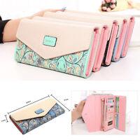 Womens Lady Long Handbag Bag Envelope Leather Wallets PU Button Clutch Purse PS