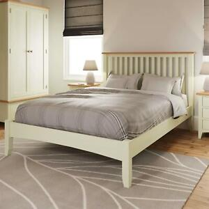 White Painted Slatted 4'6 Double Wooden Bed Frame Tapered Legs Bedroom Furniture