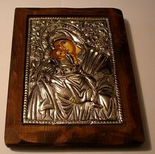 ARGENTO OKLAD icona Madre di Dio Maria Gesù Cristo SILVER Icon MADONNA ICONE