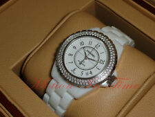 Chanel J12 White Ceramic 38mm Automatic 2 Row Diamond Bezel Ref: H0969