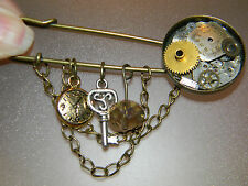 Steampunk Brooch Pin Vintage Watch Gears Cog Pocket Watch Charm Chains OOAK #106