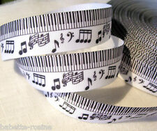 NOTE de MUSIQUE PIANO NOIR BLANC ** 25 mm ** RUBAN GROS GRAIN - vendu au mètre