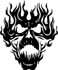 "FLAME SKULL Vinyl Decal Sticker-6"" Tall White Color"