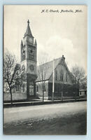 Northville, MI - c1913 VIEW OF ME CHURCH - EARLY SMALL TOWN USA POSTCARD