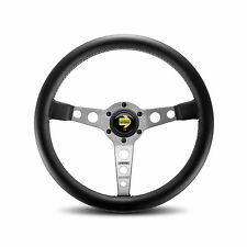 MOMO PROTOTIPO 350MM BLACK LEATHER SILVER SPOKES CAR STEERING WHEEL