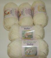 5 Skeins Bernat Baby Yarn Super Fine Antique White NOS NEW