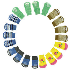HOT Sale 4Pcs Cute Puppy Dogs Pet Knits Socks Anti Slip Skid Bottom D1
