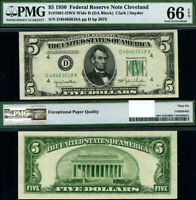 FR. 1961 D $5 1950 Federal Reserve Note D-A Block Wide II Gem PMG CU66 EPQ