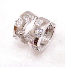 fashion1uk Simulated Diamond White Gold Plated Unisex 15mm Huggie Hoop Earrings