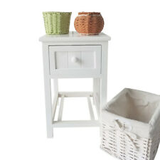 2 Layers White Bedside Table Nightstand w/Wicker Storage Bedroom Furniture Wood