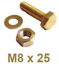 M8 x 25 Brass Hex Head Bolts + Nuts & Washers - 8mm x 25mm Brass Set Screws x4