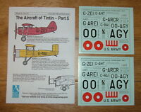 NEW!! 1/72 scale AIRCRAFT OF TINTIN DECALS PART 5 BY BLUE RIDER (Sheet CD013)