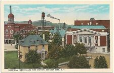 Goodwill Theatre and Fire Station in Johnson City NY Postcard