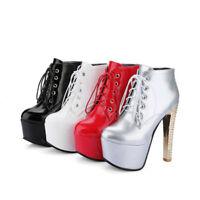 Ladies Clubwear Shoes Platform High Heels Pumps Lace Up Ankle Boots US Size b934