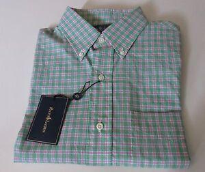 NWT Polo by Ralph Lauren Plaid Custom Fit Button Down Oxford Sport Shirt S $125