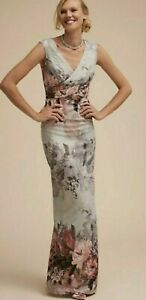 NWT BHLDN Adrianna Papell LILLIANA 2 4 6 10 Blue Pink Floral MOB / MOG Maxi Gown