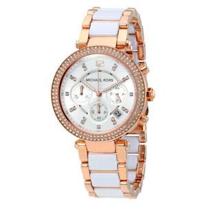 Michael Kors Ladies Chronograph Rose-Gold White Face Glitz 39mm Watch MK5774