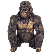 More details for bronze effect gorilla pilot sculpture ape home decoration figurine statue