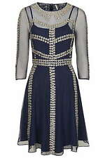 TOPSHOP LIMITED EDITION NAVY BLUE MESH DRESS~PEWTER CHARM FLOWERS RRP £150  6-8