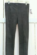 Vince Stretch Suede Lamb Leather Leggings Ankle Zip Grey Pants Size M EUC