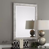 "NEW SOLID WOOD 42"" METALLIC SILVER EMBOSSED WAVY FRAME WALL VANITY MIRROR"