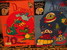 """Spooky Stickers Books """"Dragons"""""""" Aliens"""" Games & Coloring New Unused"""