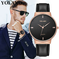 YOLAKO Men's Casual Quartz Watch Leather Band NEW Strap Analog Watch For Dating
