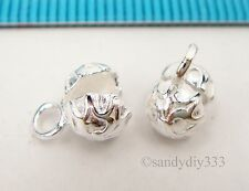 4x STERLING SILVER BRIGHT FLOWER CRIMP BEAD COVER 5.6mm CONNECTOR END BEAD #2356