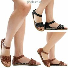 New Women W158 Black Tan Woven Strappy Open Toe Flat Sandals 5 to 10