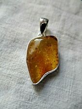 Superb Sterling Silver and Natural Baltic Amber Pendant 3.2g Taurus Birthstone
