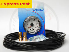 VDO 52mm White/Chrome 100 PSI MECHANICAL OIL OR AIR PRESSURE GAUGE and LINE KIT
