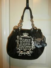 JUICY COUTURE PURSE TOTE BAG & CHARMS VELOUR VELVET BROWN CROWN CHAINS
